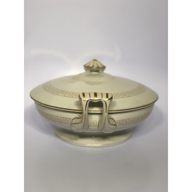 Hollywood Regency Vintage Greek Key Porcelain Soup Tureen For Sale - Image 3 of 5