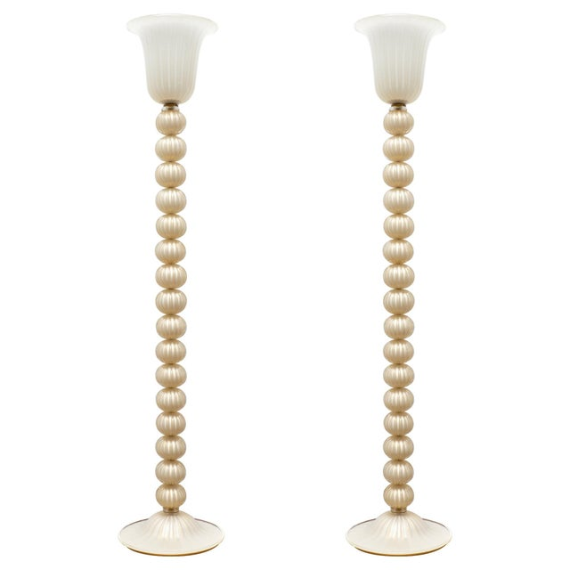 Murano Glass Ivory and Gold Floor Lamps For Sale - Image 10 of 10