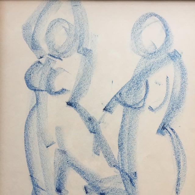 Original vintage Female Nude colored Drawing sketch on paper Unsigned 16.75 x 20.75 overall size with vintage wood carved...