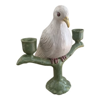 Italian Faience White Dove Double Candleholder For Sale