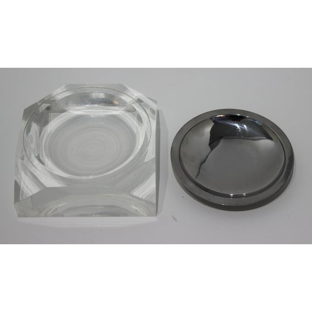 Transparent Octagonal Lucite & Stainless Steel Candy or Nut Dish Bowl For Sale - Image 8 of 10