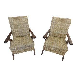 1950s Mid-Century Modern Gio Ponti Style Beige Fabric Armchairs - a Pair
