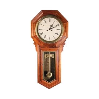 Regulator School House Pendulum Hanging Wall Clock Wood & Brass For Sale