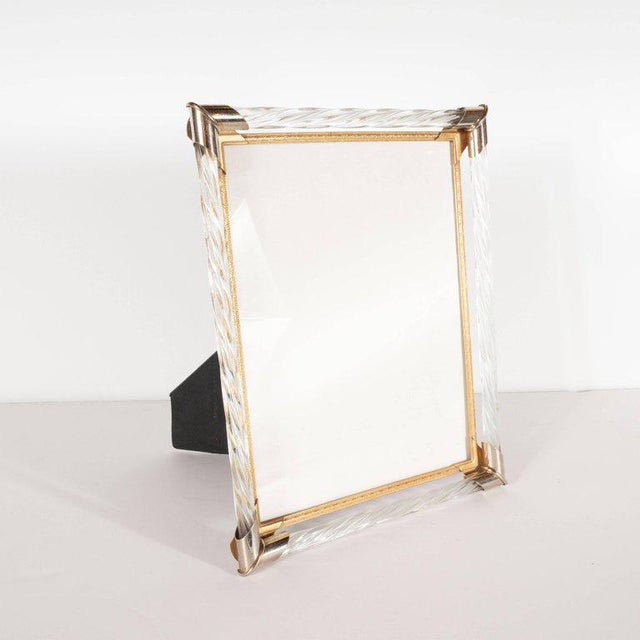 Mid-Century Modern Braided Murano Glass, Chrome & Filigreed Brass Picture Frame For Sale In New York - Image 6 of 6