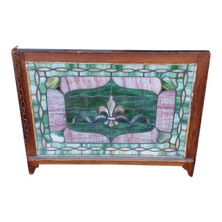 Antique Wood Frame Stained Leaded Glass Fleur-De-Lis Hanging Window Panel C1940 For Sale
