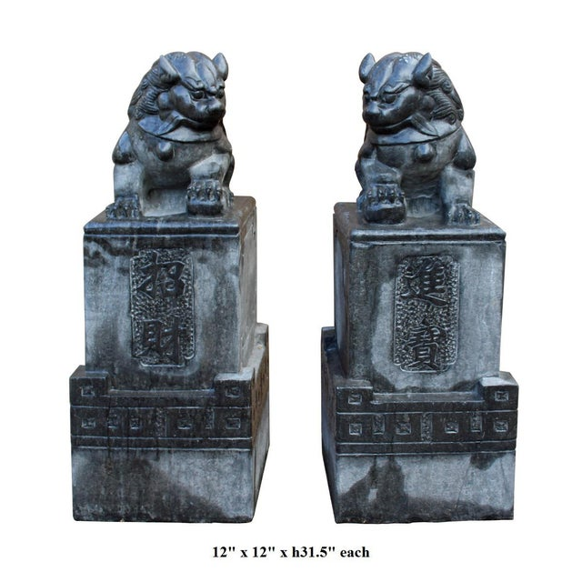 Chinese Gray Stone Fengshui Pedestal Foo Dog Statues - A Pair For Sale In San Francisco - Image 6 of 6