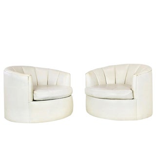Pair of Round Swivel Channel Back Chairs For Sale