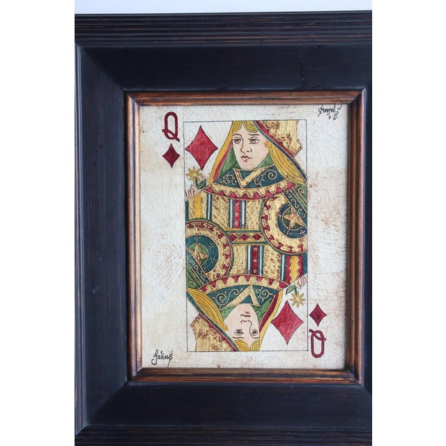 Folk Art Queen & King Game Cards Oil Paintings by Julius - Image 3 of 4