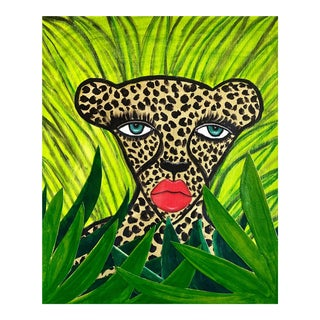 Cheetah in the Jungle Mixed Media Painting For Sale