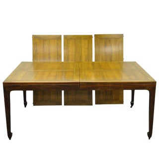 1960s Chinoiserie Baker Far East Collection Walnut Banded Dining Table For Sale