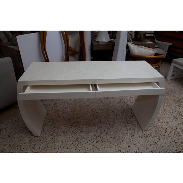 White Fully Restored Tessellated Bone Two-Drawer Console by Enrique Garces C. 1980 For Sale - Image 8 of 13