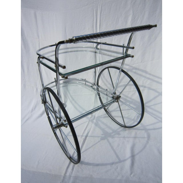 Italian Chrome Bar Cart - Image 4 of 6