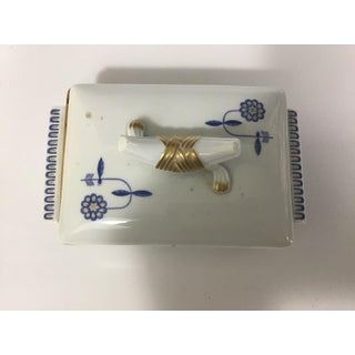 Vintage Meissen Porcelain Trinket Box With Blue Flowers Preview