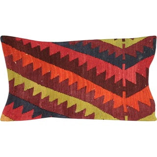 "Nalbandian - Turkish Kilim Lumbar Pillow - 12"" X 23"" For Sale"