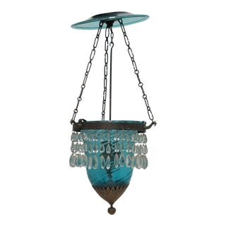 19th Century Hand Blown Art Glass & Gold Gilt Bell Jar Chandelier Pendant Light For Sale