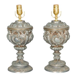 Pair of 19c. Well Articulated Cast Spelter Urn Lamps For Sale