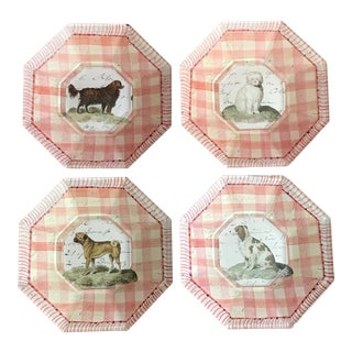 John Derian Decoupage Plates of Dogs - Set of 4 For Sale