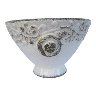 Distressed Antique White Bowl For Sale