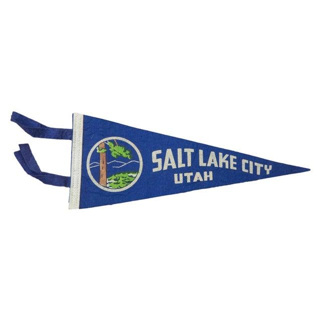 Vintage Salt Lake City Utah Felt Flag Banner - Image 1 of 2