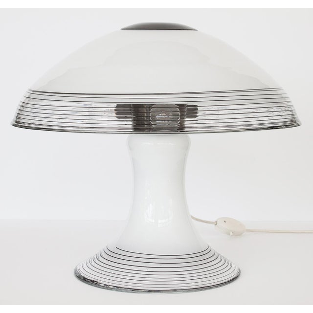 Italian Black and White Murano Swirl Glass Table Lamp - Image 5 of 10