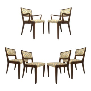 Set of Six Edward Wormley for Drexel Dining Chairs With Chevron Upholstery For Sale