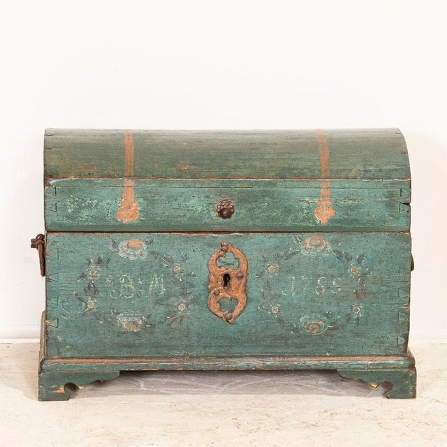 Farmhouse Antique Original Blue Painted Small Trunk Dated 1788 From Sweden For Sale - Image 3 of 13