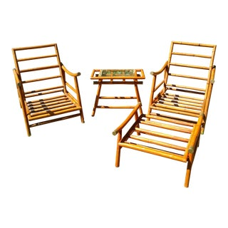 Vintage Chinoiserie Bamboo Rattan Patio Furniture Set Of 4