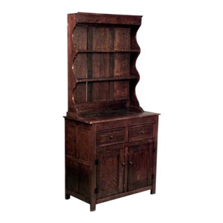 English Country Style '19th-20th Century' Dark Oak Hutch Cabinet For Sale