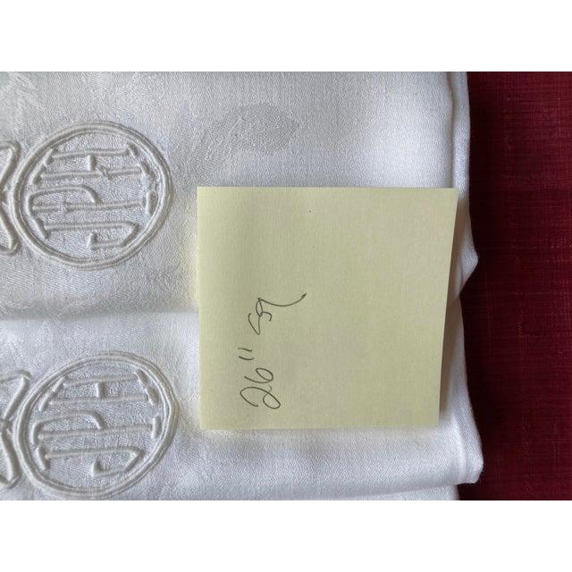 Traditional Vintage Extra Large Monogrammed Linen Napkins- Set of 8 For Sale - Image 3 of 4