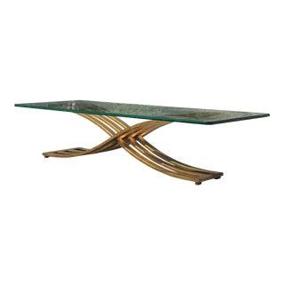 Vintage Hollywood Regency Gilt Slatted Steel Sculptural X Base Glass Top Coffee Table For Sale