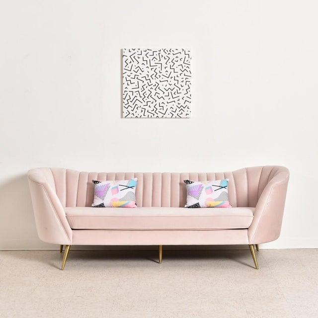 """Pink Modern """"Gwen"""" Pink Velvet Sofa For Sale - Image 8 of 9"""
