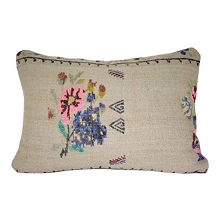 Embroidered Handmade Designer Aubusson Pattern Chair Cushion Pillow Cover, Lumbar Decorative Floral Pattern Throw Pillows 14'' X 20'' (35 X 50 Cm) For Sale