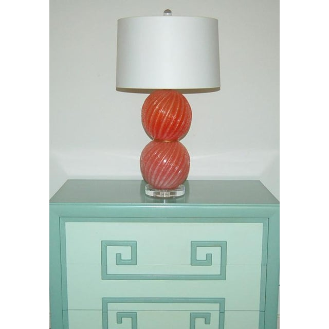 Metal Vintage Murano Pulegoso Glass Ball Table Lamps Melon For Sale - Image 7 of 8