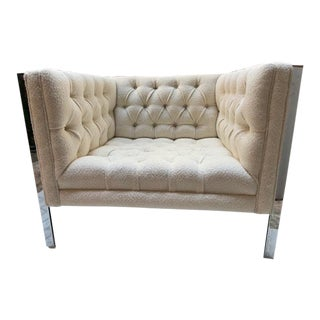 Milo Baughman Chrome Frame Tufted Club Chair For Sale