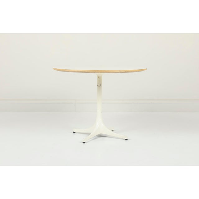 George Nelson Herman Miller Pedestal Side Table. Made with Laminate, Plywood, Enameled Aluminum