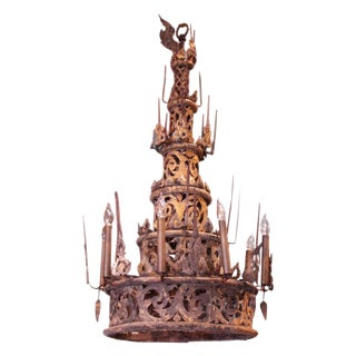 19th Century Asian Gilt Finial Chandelier