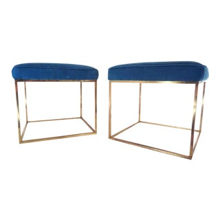 1960's Milo Baughman Brass Peacock Blue Thin Line Stools ~ a Pair For Sale