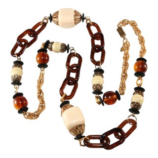 Lawrence Vrba Long Simulated Ivory and Tortoiseshell Bead Necklace For Sale