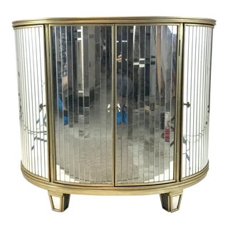 Ferguson Copland Eglomise Mirrored Champagne Demi-Lune Chest of Doors For Sale