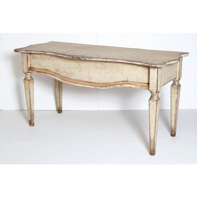 Pair of French Painted and Gilt Console Tables For Sale - Image 4 of 9