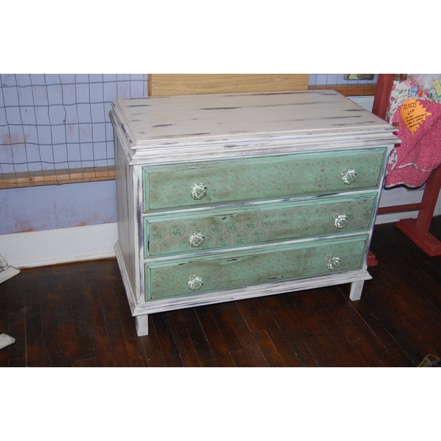 Vintage Shabby Chic Painted Green & White Dresser - Image 2 of 9