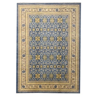 Transitional Geometric Floral Hand Knotted 'Khotan' Area Rug - 6′2″ × 9′3″ For Sale