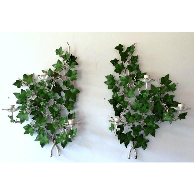 Italian Ivy Tole Candle Sconces - A Pair - Image 2 of 7