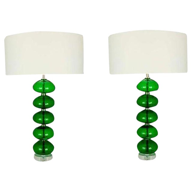 Vintage Murano Stacked Font Glass Table Lamps Green For Sale