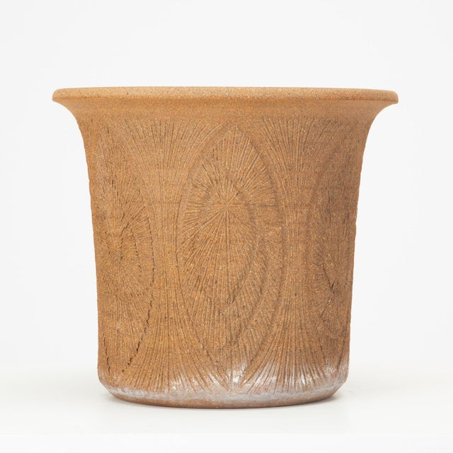 Robert Maxwell Incised Studio Pottery Planter with Flared Lip For Sale - Image 12 of 12