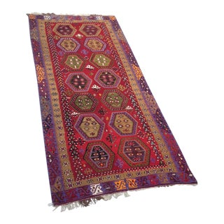 Antique Anatolian Tribal Handwoven Kilim - 5' x 11' For Sale