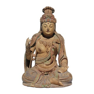 Vintage Quality Handcrafted Chinese Distressed Finish Wood Bodhisattva Statue For Sale