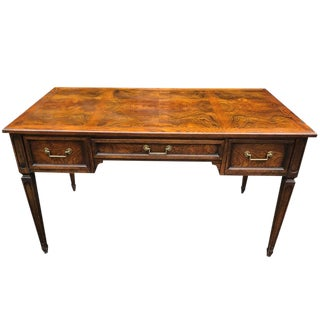 1990s Neoclassical Hekman Burl Office Writing Desk For Sale