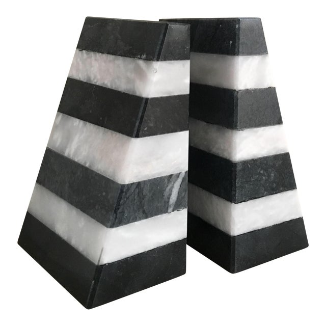 Color Blocked Marble Bookends For Sale