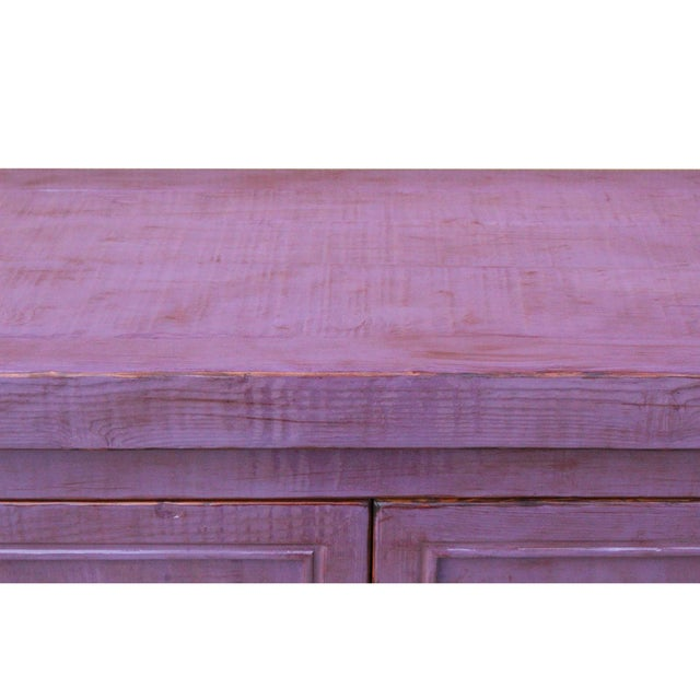 2010s Distressed Purple Lacquer Rough Raw Wood Credenza Console Table Cabinet For Sale - Image 5 of 9